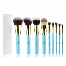9pcs Antiallergic Blue Makeup Brush Set
