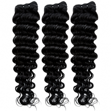 16 Inches Natural Black(#1b) Deep Wave Indian Remy Hair Wefts Bundle