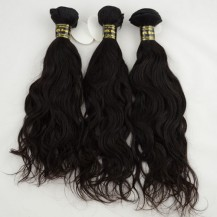 16 Inches Natural Black(#1b) natural wave Indian Remy Hair Wefts Bundle