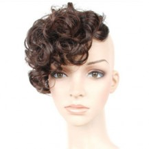 Slightly Curled Wig Bang Deep Chestnut Brown 1 Piece