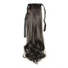 Bundled Fluffy Long Wavy Ponytail Black