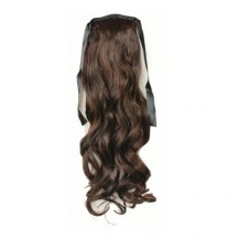 Bundled Long Wavy Ponytail Deep Chestnut Brown
