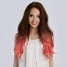 "20"" Ombre(#4/Pastel) Pink 7pcs Clip In  Remy Human Hair Extensions"