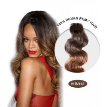 "16"" #1B/12 Ombre Body Wave 100% Remy Human Hair"