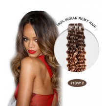 "16"" #1B/12 Ombre Curly 100% Remy Human Hair"