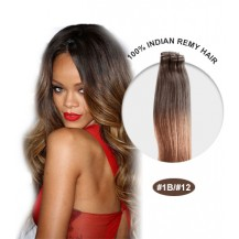 "24"" #1B/12 Ombre Straight 100% Remy Human Hair"