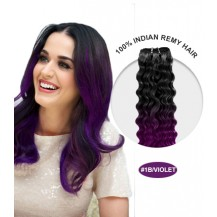 "18"" #1B/Violet Ombre Curly 100% Remy Human Hair"