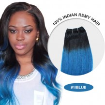 "14"" #1/Blue Ombre Straight 100% Remy Human Hair"