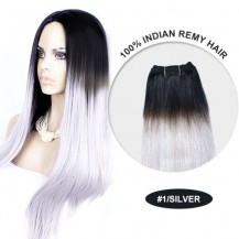 "14"" #1/Silver Ombre Straight 100% Remy Human Hair"