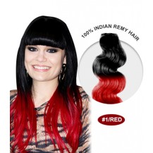 "24"" #1/Red Ombre Body Wave 100% Remy Human Hair"