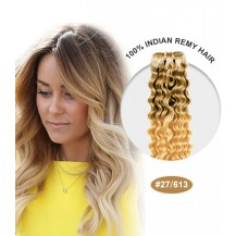 "16"" #27/613 Ombre Curly 100% Remy Human Hair"