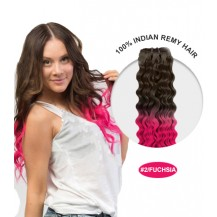 "22"" #2/Fuchsia Ombre Curly 100% Remy Human Hair"