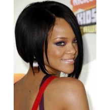 Celebrity Human Hair Full Lace Wig Straight Natural Black