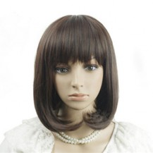 Oblique Fringe BOBO Wig Deep Brown 1