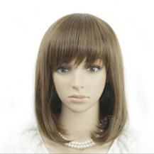 Oblique Fringe BOBO Wig Light Brown 1