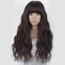Long Corn Hot Fluffy Waves Wig Deep Brown 1