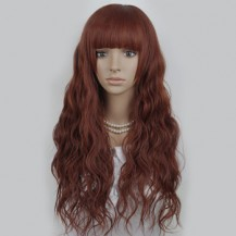 Long Corn Hot Fluffy Waves Wig Brownish Red 1