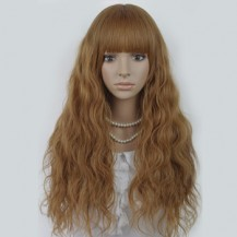Long Corn Hot Fluffy Waves Wig Flax Yellow 1