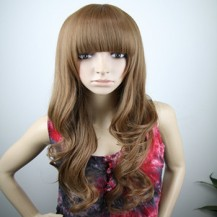 Long Fluffy Neat Bang Wavy Wig Deep Flax Yellow 1