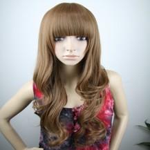 Long Fluffy Neat Bang Wavy Wig Deep Flax Yellow 1