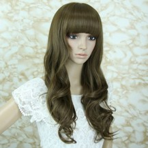 Long Fluffy Neat Bang Wavy Wig Light Flax Yellow 1