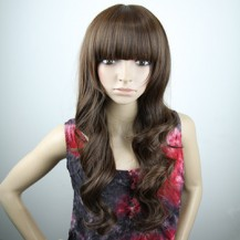 Long Fluffy Neat Bang Wavy Wig Light Brown 1