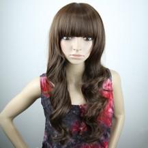 Long Fluffy Neat Bang Wavy Wig Light Brown 1
