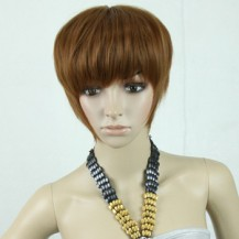 Noble  Fluffy  Short Straight Wig Light Brown 1