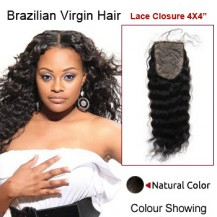 "16"" Natural Black Deep Wave 100% Brazilian Virgin Hair Lace Closure/Top Closure"