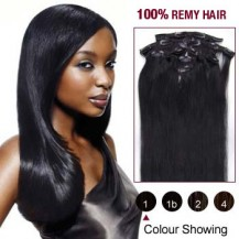 "24"" Jet Black(#1) 7pcs Clip In  Human Hair Extensions"