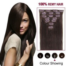 "20"" Dark Brown(#2) 7pcs Clip In  Remy Human Hair Extensions"