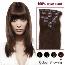 "24"" Medium Brown(#4) 7pcs Clip In  Remy Human Hair Extensions"