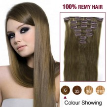 "22"" Light Brown(#6) 7pcs Clip In  Human Hair Extensions"