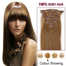 "24"" Golden Brown(#12) 7pcs Clip In  Human Hair Extensions"