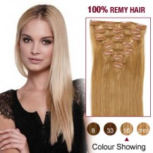 "18"" Golden Blonde(#16) 7pcs Clip In  Remy Human Hair Extensions"