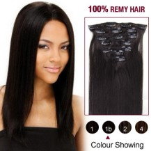 "18"" Natural Black(#1b) 7pcs Clip In  Remy Human Hair Extensions"