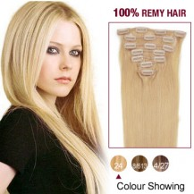 "16"" Ash Blonde(#24) 7pcs Clip In  Remy Human Hair Extensions"