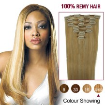 "22"" Blonde Highlight(#27/613) 7pcs Clip In  Human Hair Extensions"