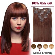 "20"" Dark Auburn(#33) 7pcs Clip In  Remy Human Hair Extensions"