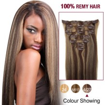 "24"" Brown/Blonde(#4/27) 7pcs Clip In  Human Hair Extensions"