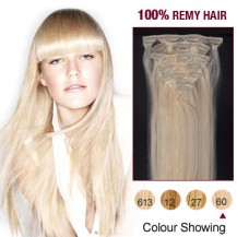 "18"" White Blonde(#60) 7pcs Clip In  Human Hair Extensions"