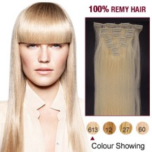 "24"" Bleach Blonde(#613) 7pcs Clip In  Human Hair Extensions"