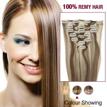 "22"" Brown/Blonde(#8/613) 7pcs Clip In  Human Hair Extensions"