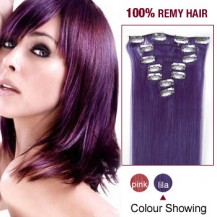 "22"" Lila 7pcs Clip In  Remy Human Hair Extensions"