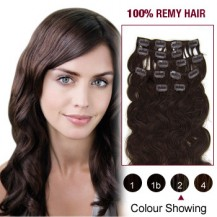 "20"" Dark Brown(#2) 7pcs Clip In  Human Hair Extensions"