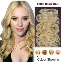 "20"" Bleach Blonde(#613) 7pcs Clip In  Human Hair Extensions"