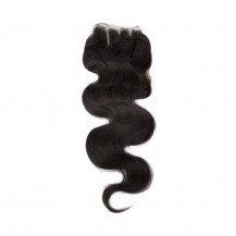 20 Inches Body Wave Natural Black Free Parted Indian Remy Lace Closure