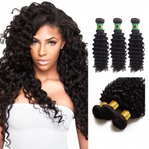 10 Inches*3 Deep Curly Natural Black Virgin Brazilian Hair