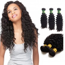 10/12/14 Inches Deep Curly Natural Black Virgin Brazilian Hair