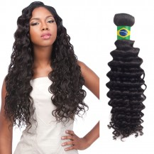16 Inches Deep Curly Natural Black Virgin Brazilian Hair